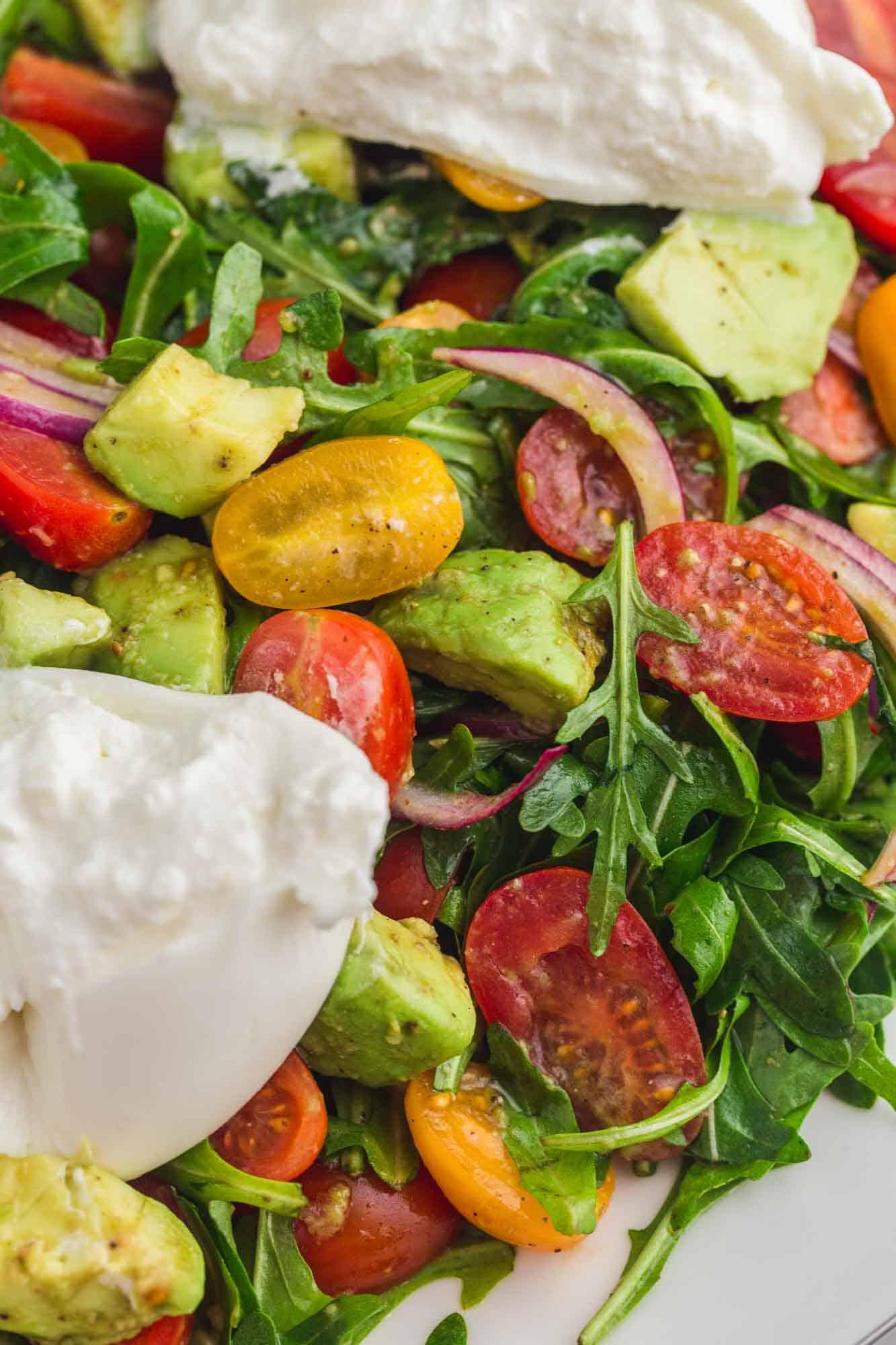 Close up shot of burrata salad