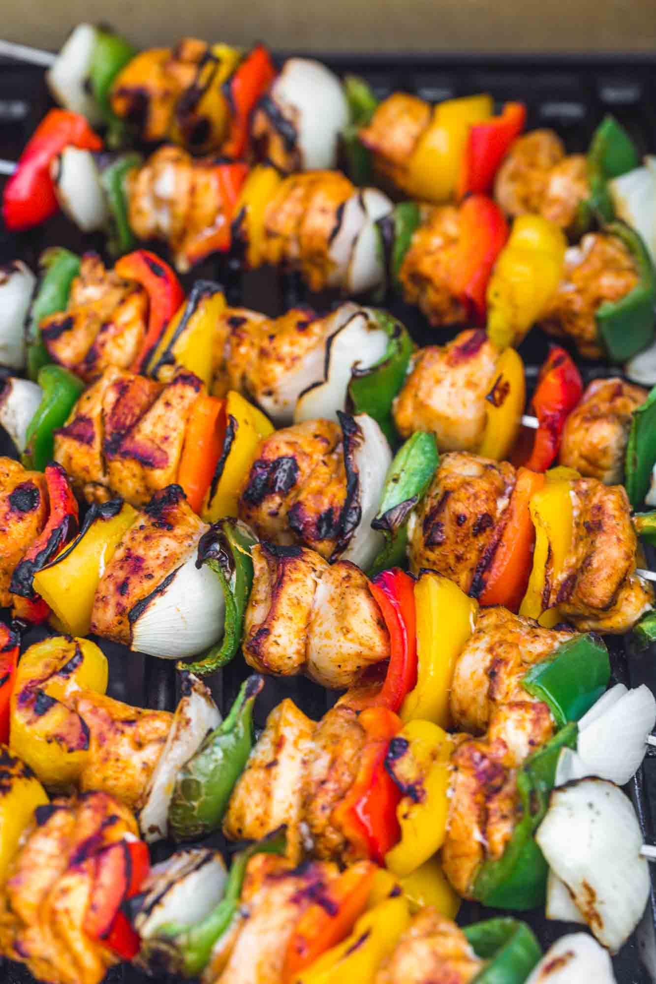 Fajita chicken kebabs on the grill