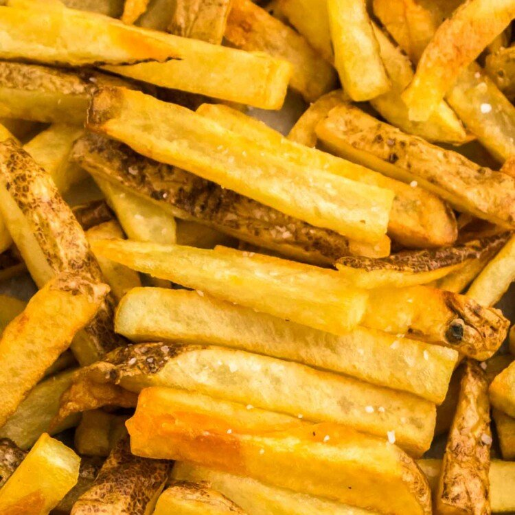 Close up shot of perfectly golden french fries
