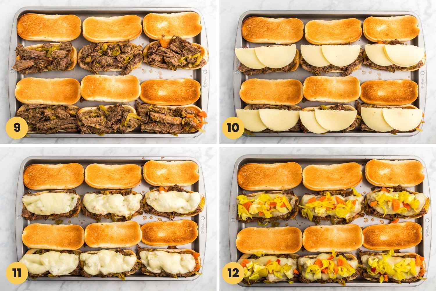 How To Make Italian Beef sandwiches shown in a collage with 4 images