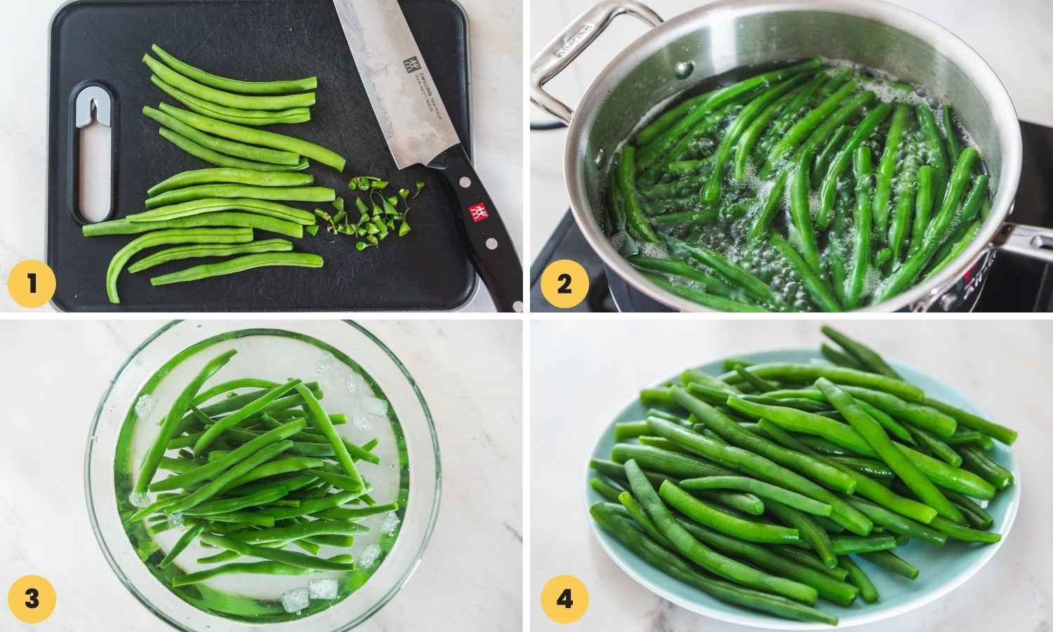 Collage with four images showing to blanch green beans step by step