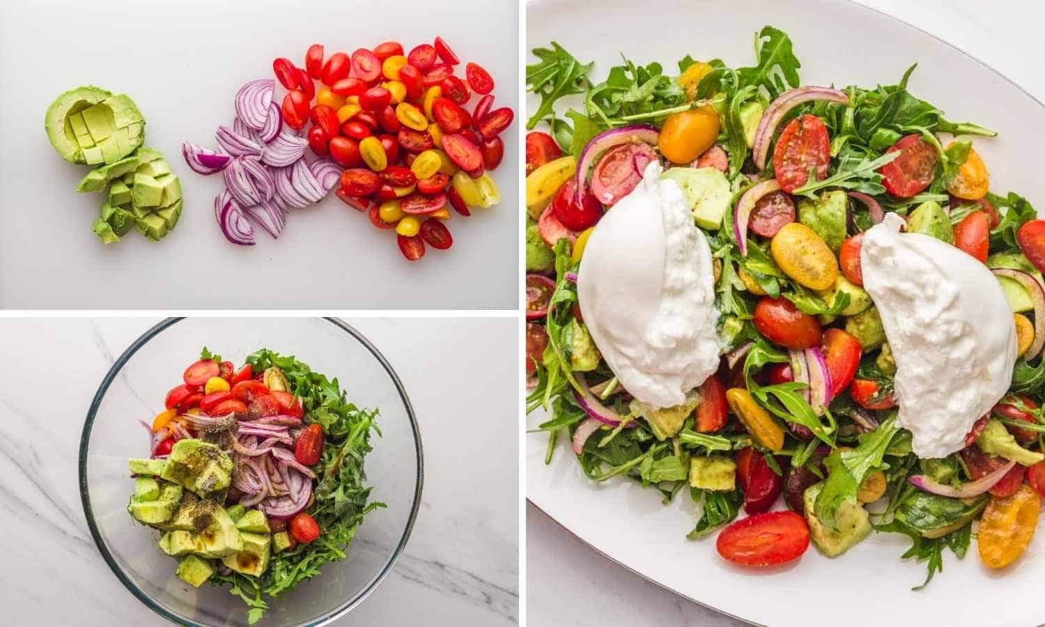 How to Make Burrata Salad shown in 3 images in a collage