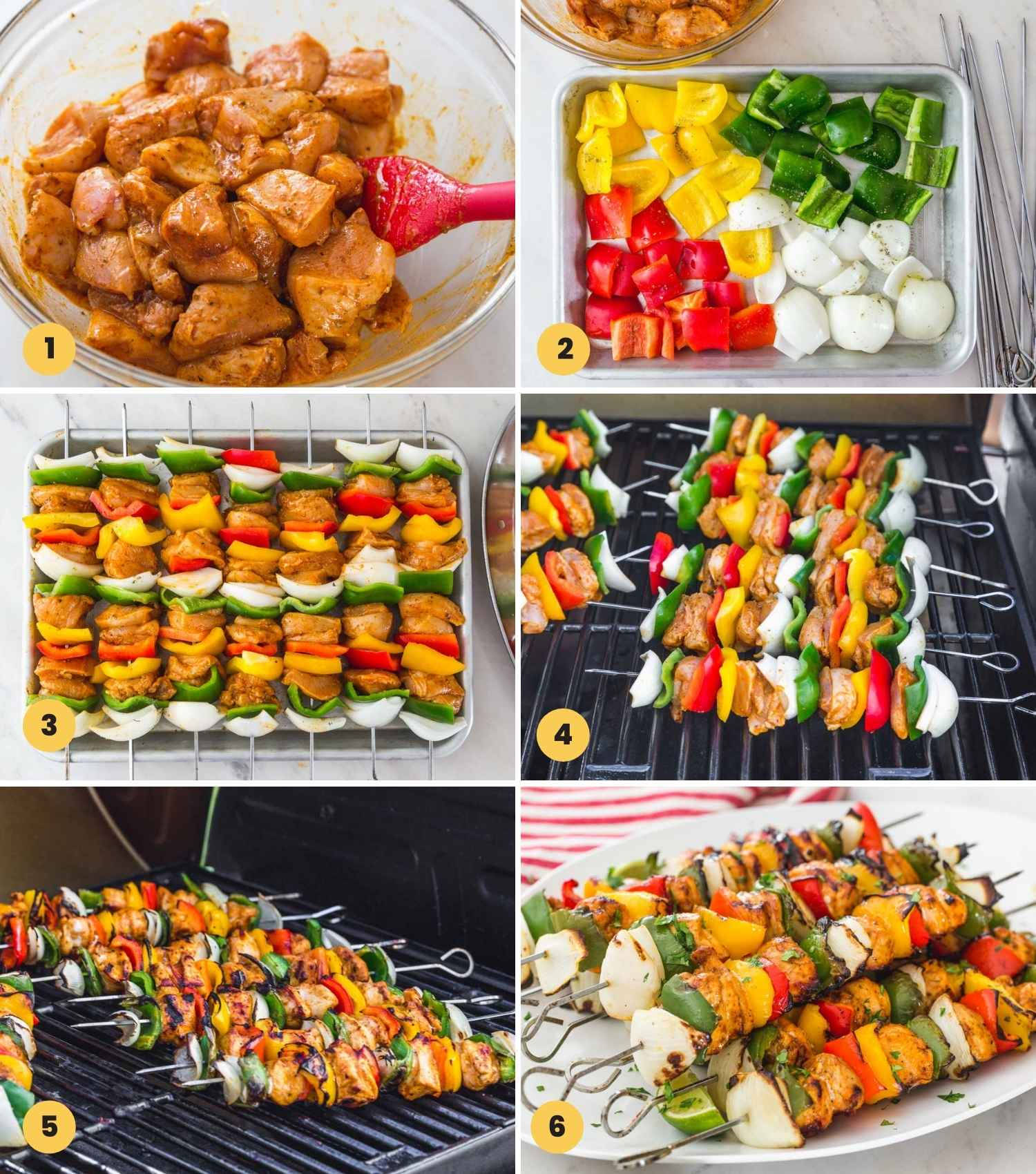 Collage with 6 images how to make fajita chicken kabobs