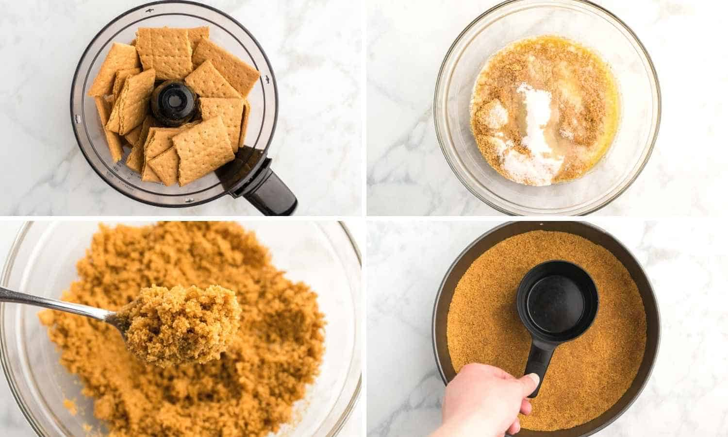 A collage with four images showing how to make graham cracker crumbs, and make a cheesecake crust out of them.