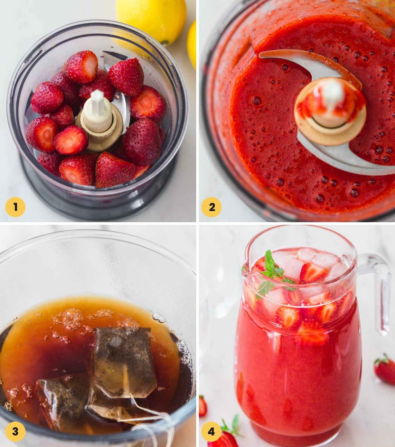 Collage with four images showing how to make strawberry tea