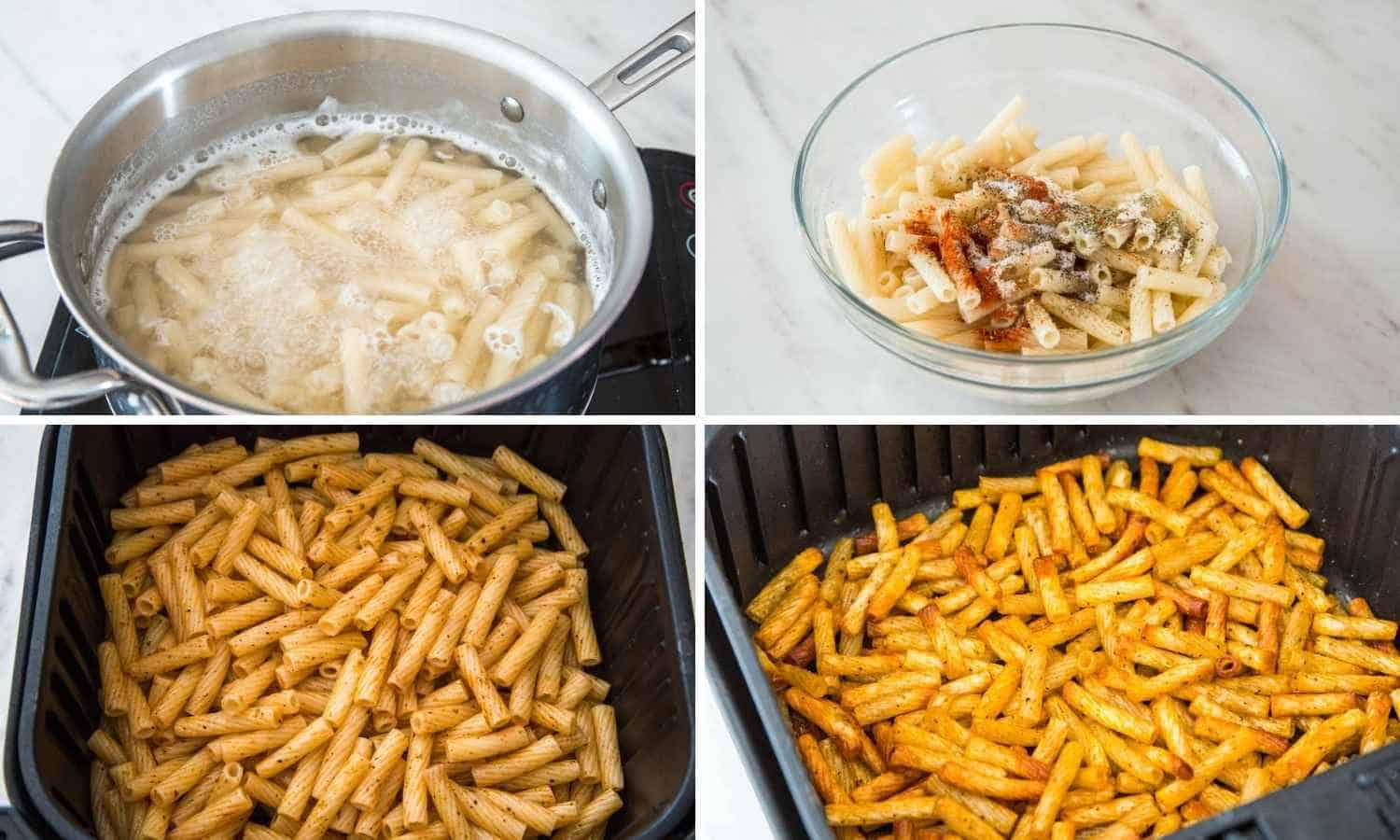 A collage with four images showing how to make pasta chips in the air fryer