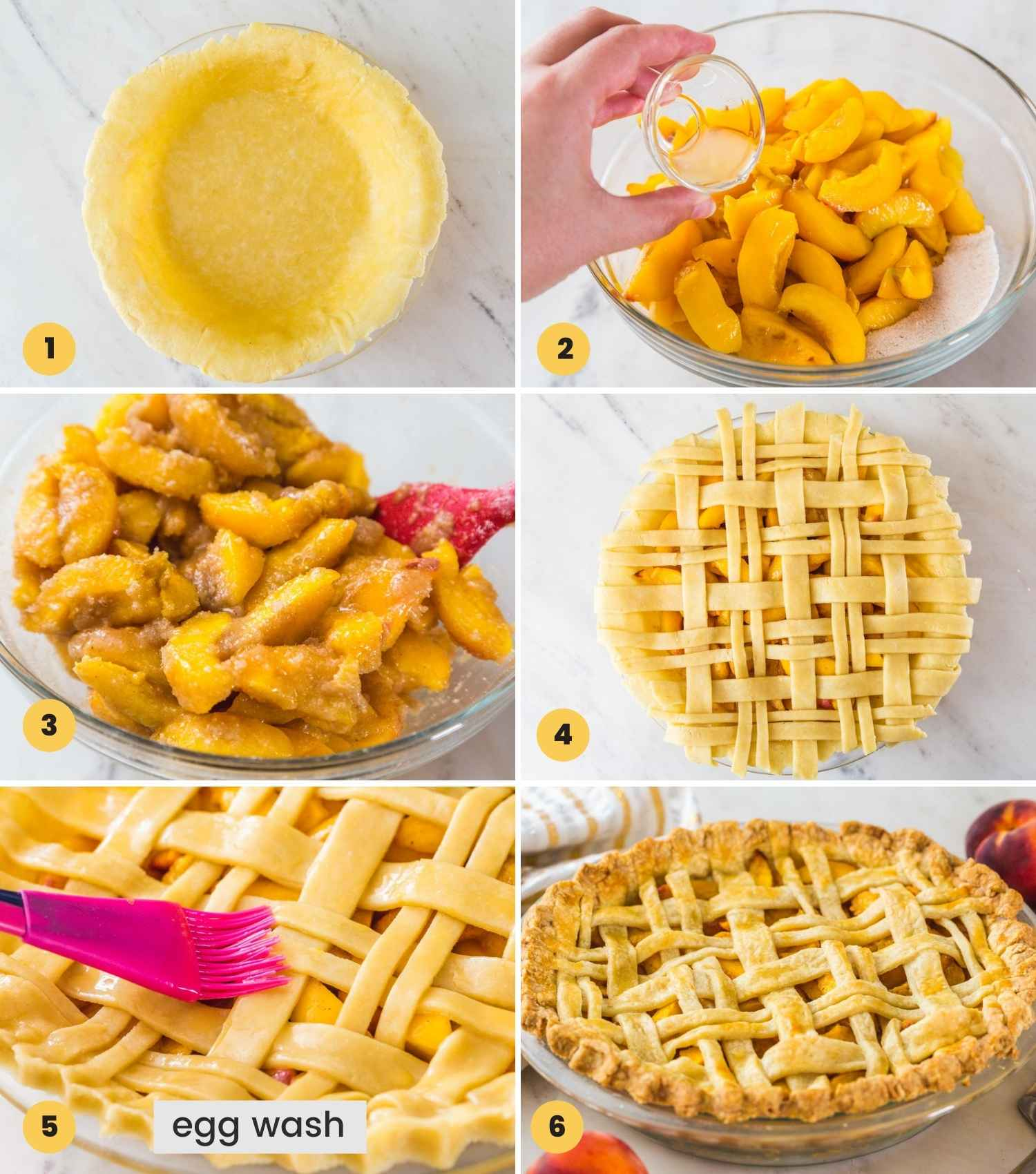 Steps showing how to make a peach pie
