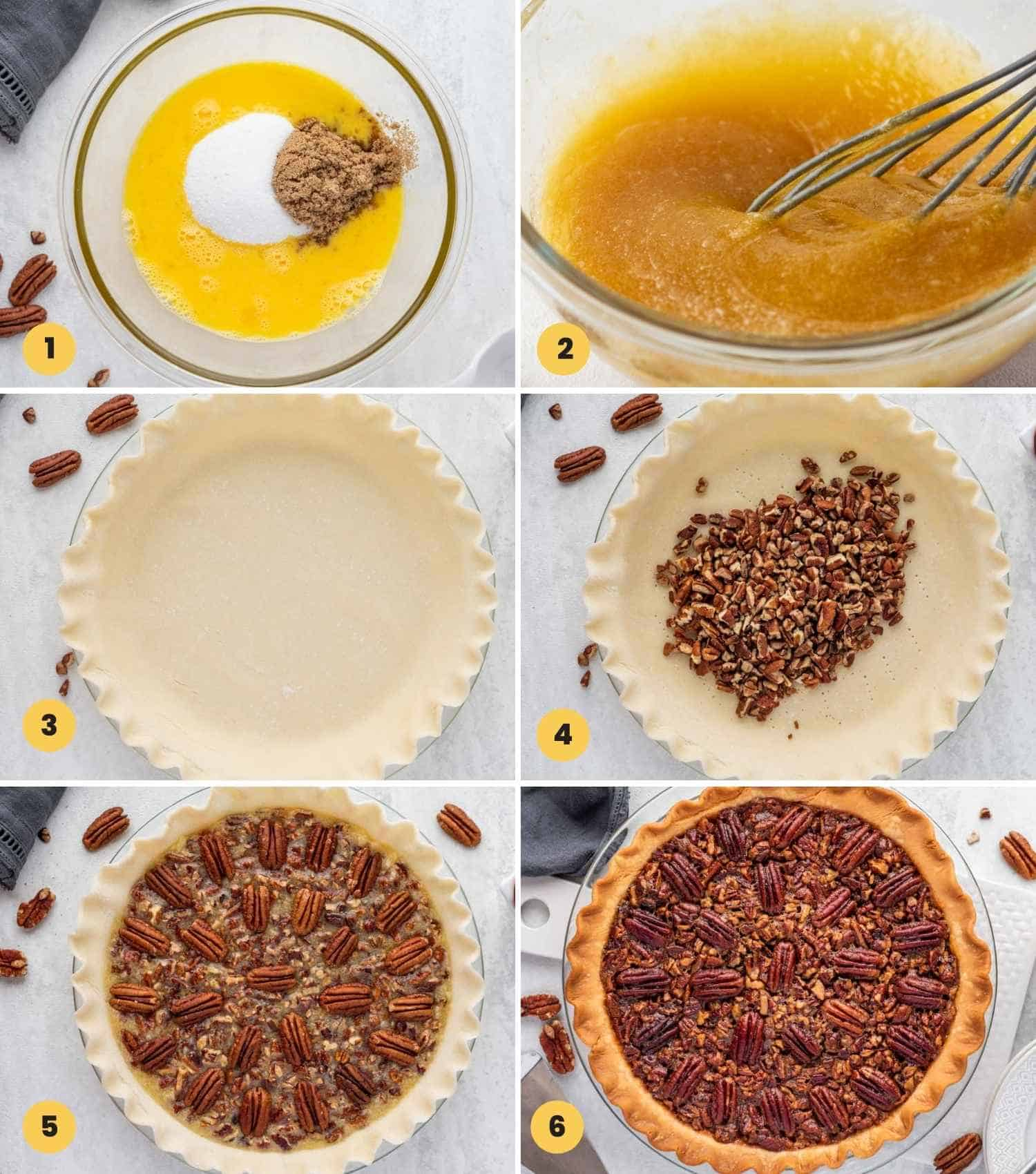 Collage with six images showing how to make pecan pie