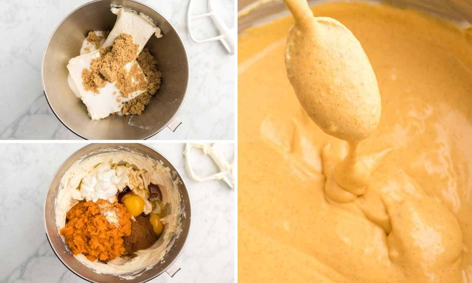 A collage with three images showing how to make pumpkin cheesecake filling