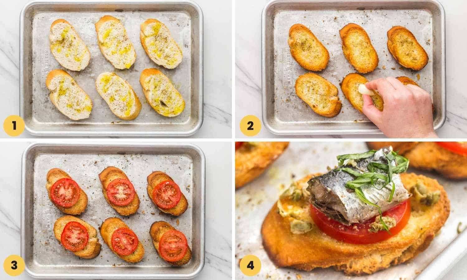 Collage with four images how to make sardine toasts