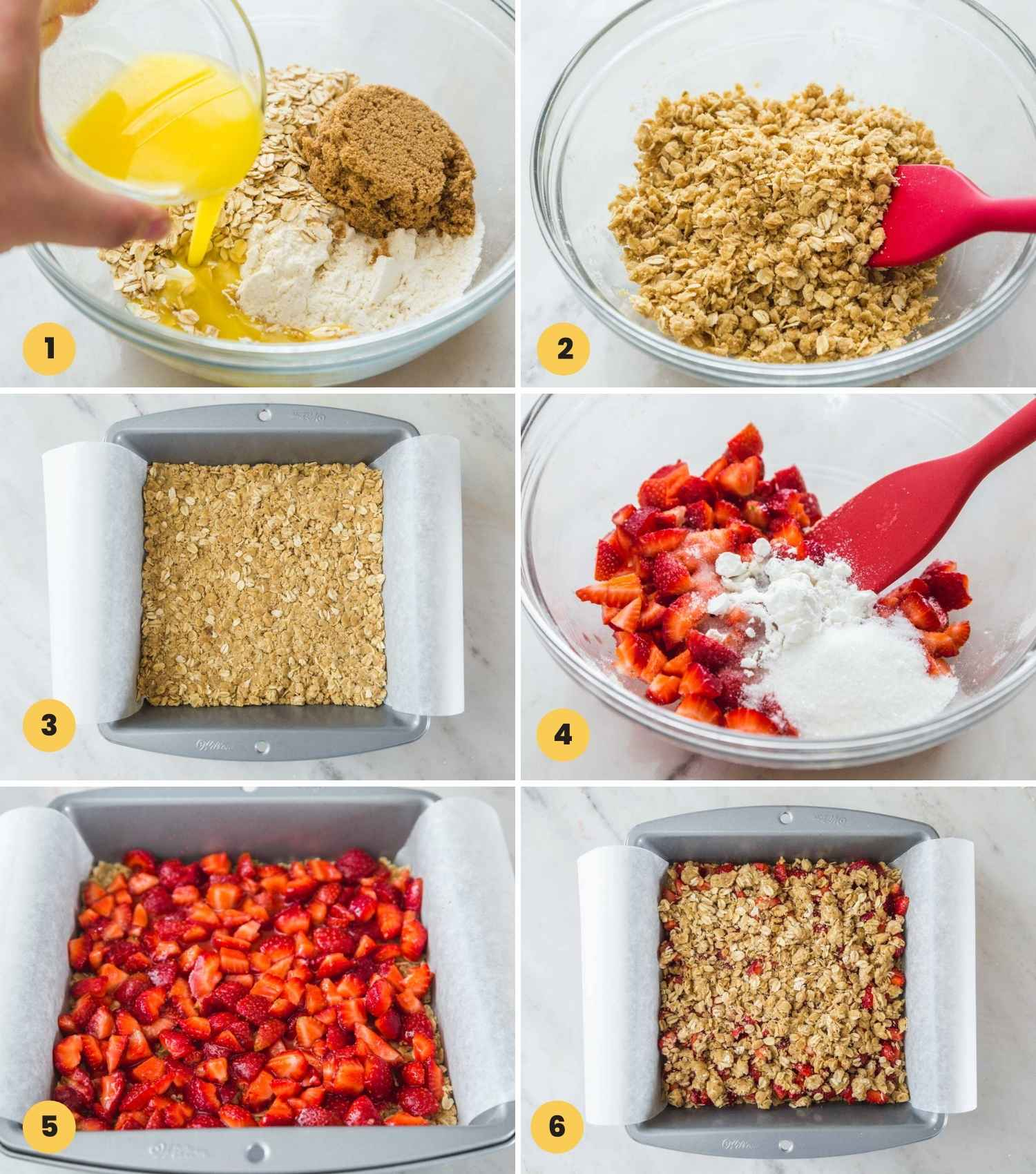 A collage with 6 images on how to make strawberry oat bars