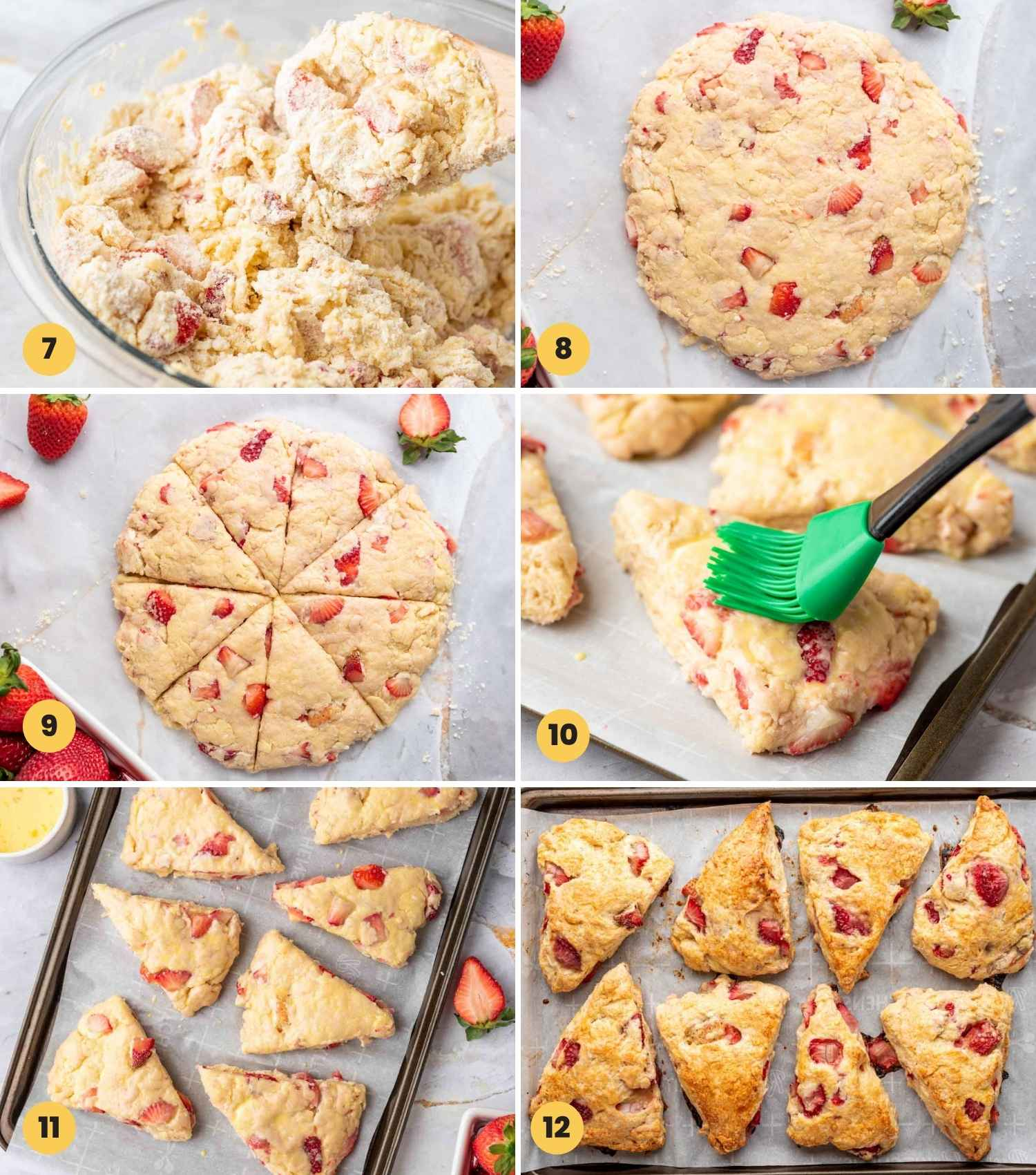 A collage with 6 images showing how to make strawberry scones from scratch
