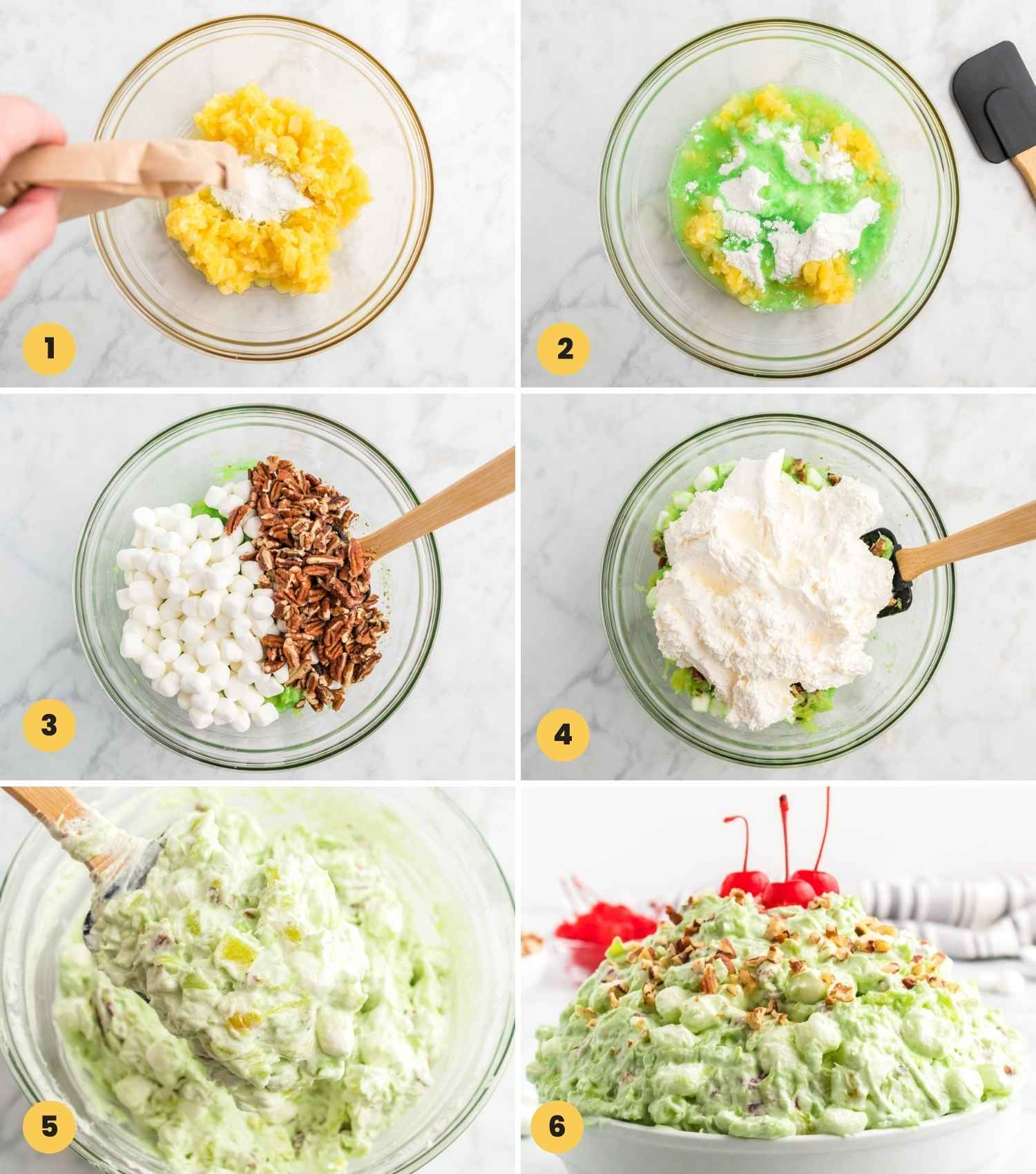 Collage with 6 images showing how to make watergate pistachio pudding salad