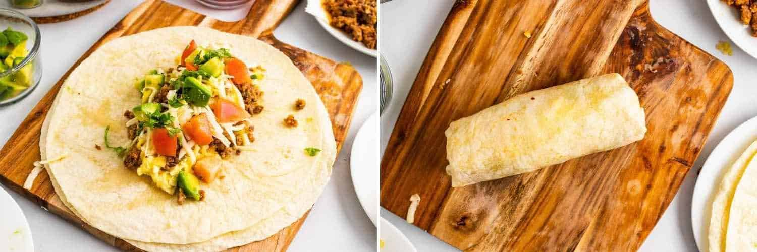 Two images showing how to assemble and wrap a burrito
