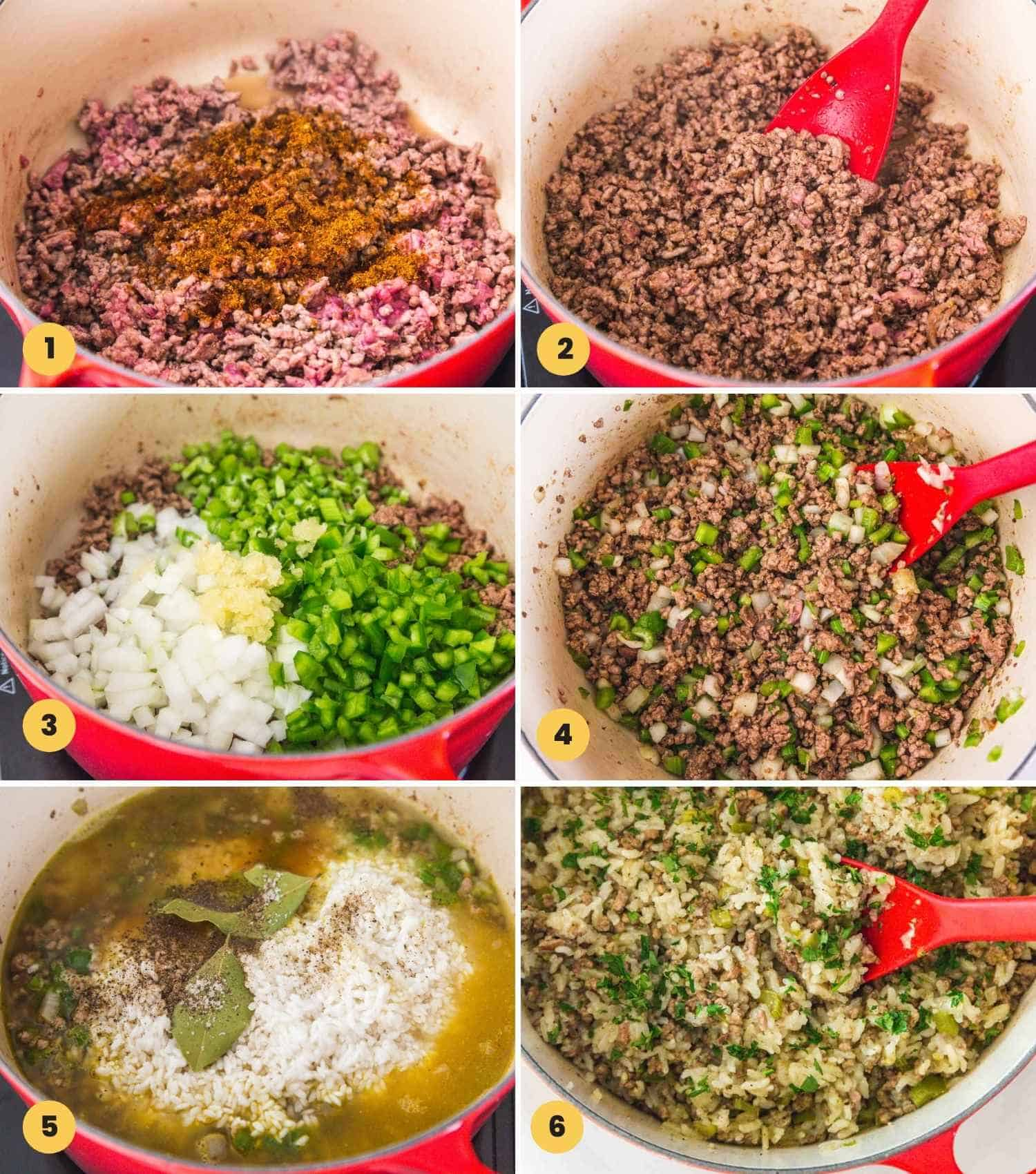 A collage with six images showing how to make dirty rice in a dutch oven