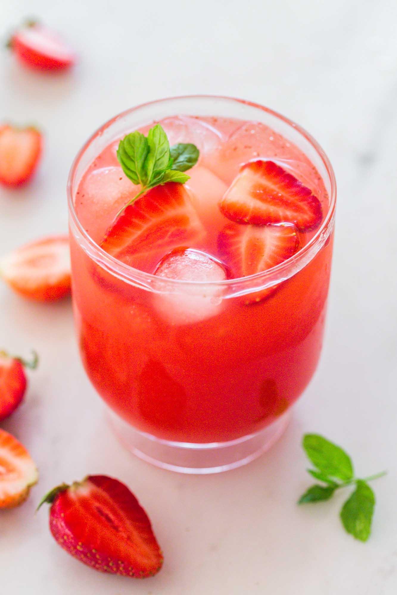 A glass of iced strawberry ice tea