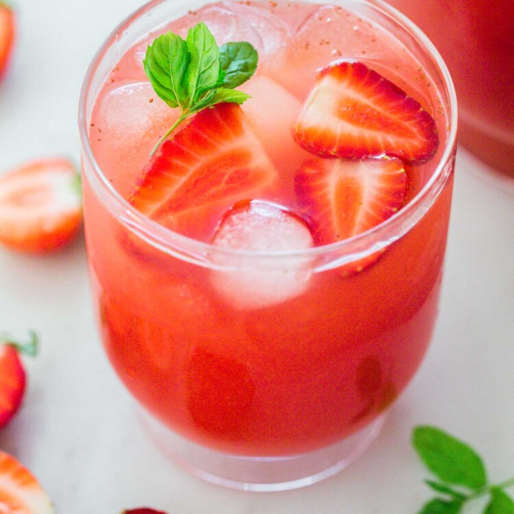 Iced Strawberry Tea in a transparent glass