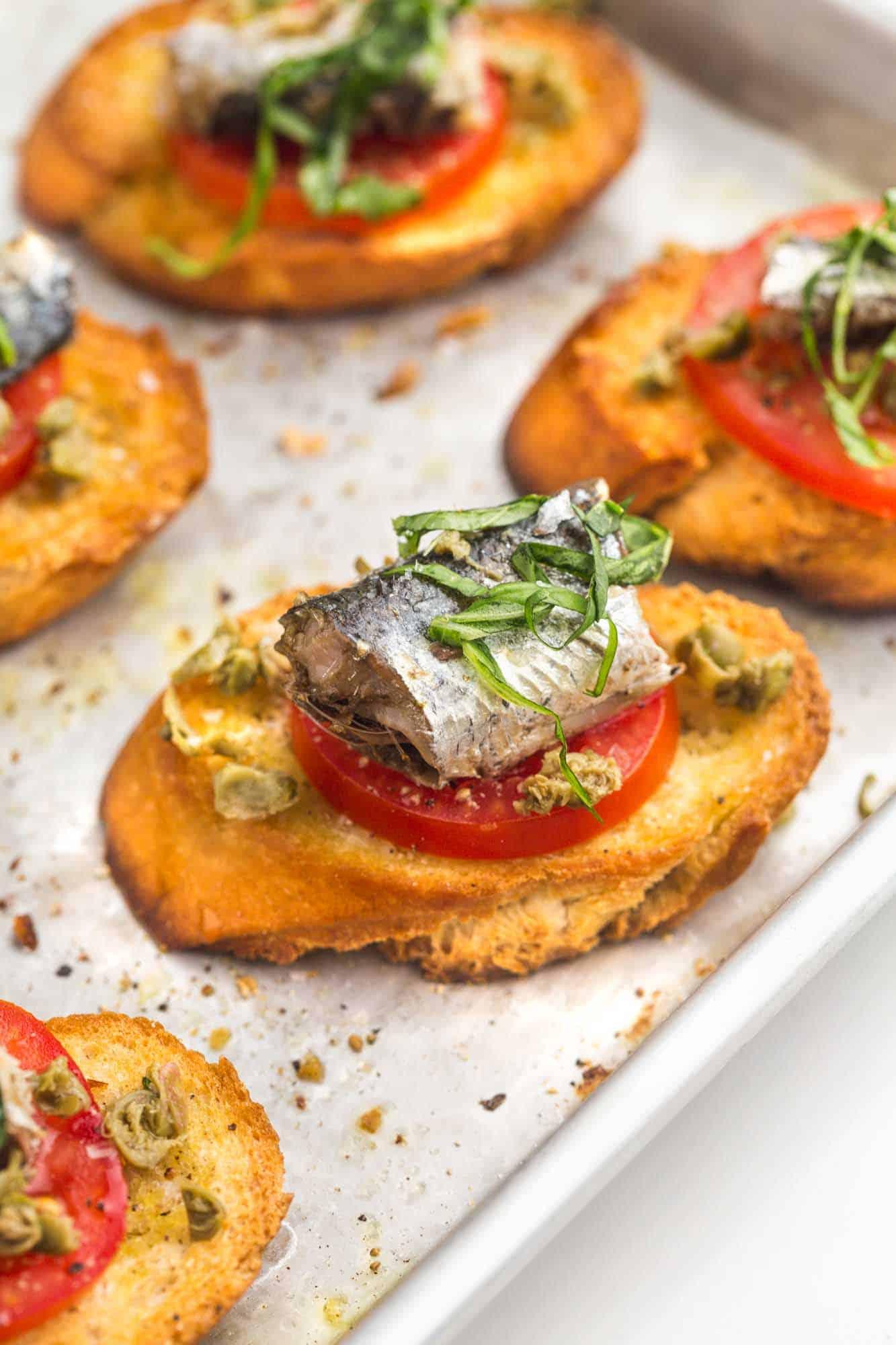 Sardine toasts on a sheet pan