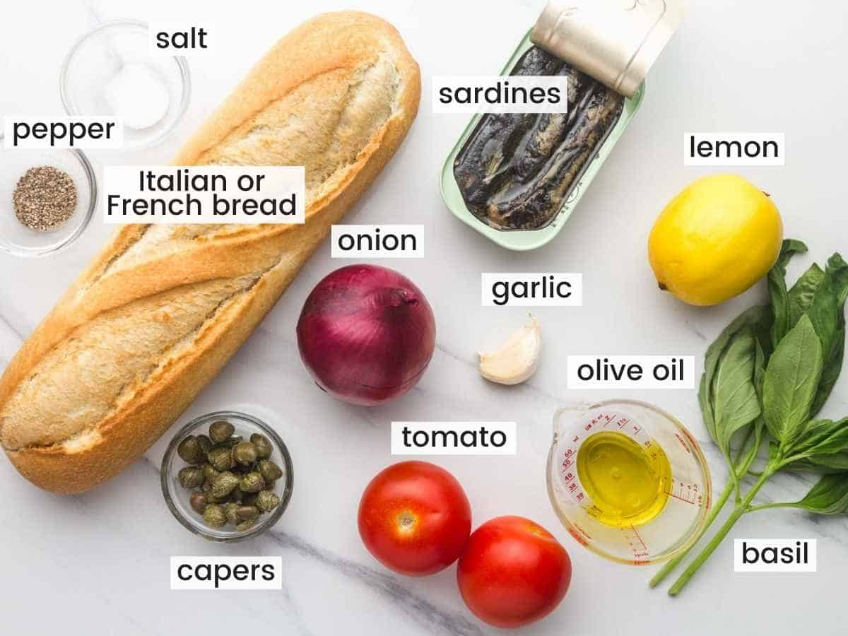 Ingredients needed to make sardines on toast