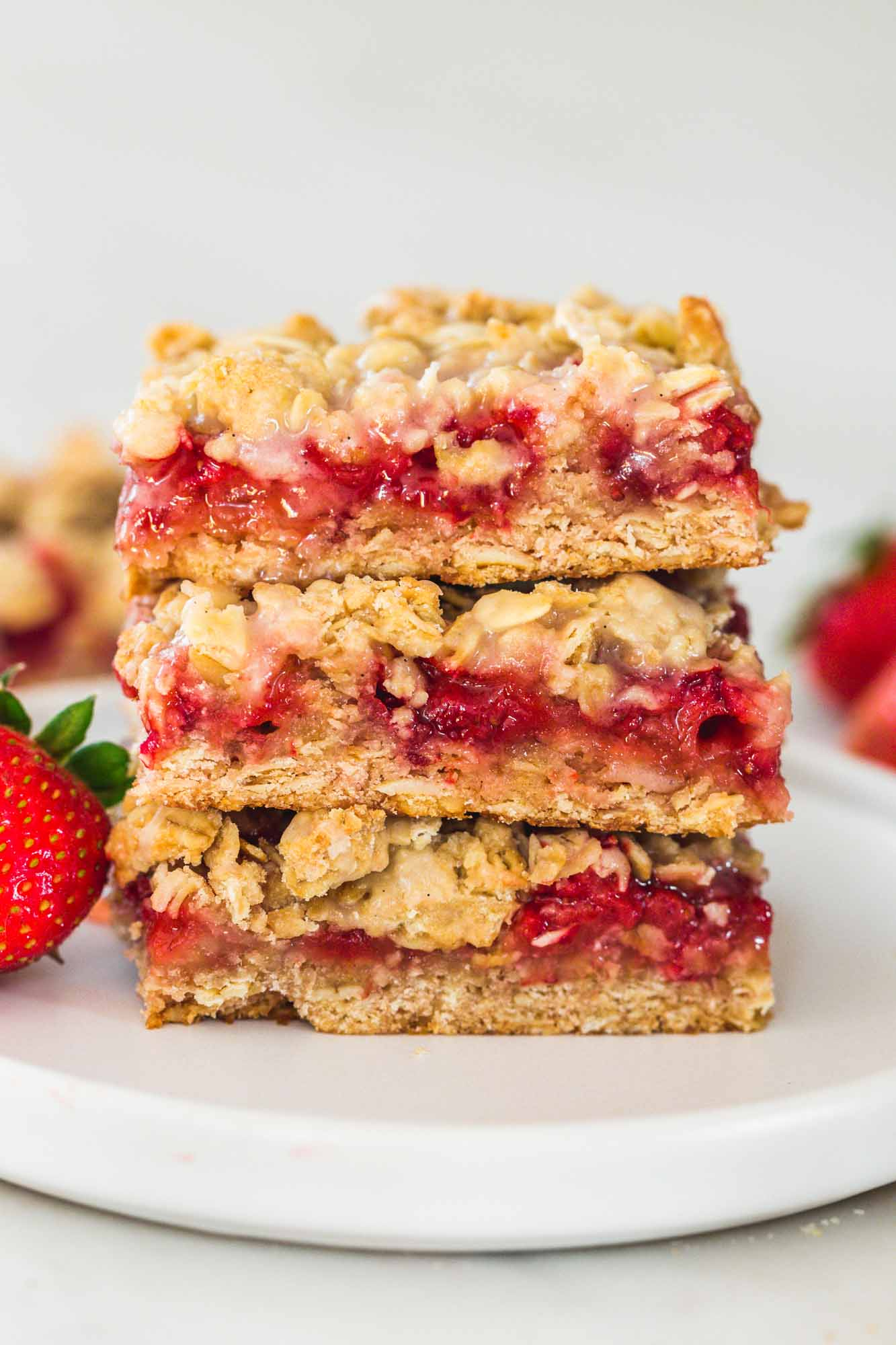 Strawberry Oatmeal Bars stacked on each other