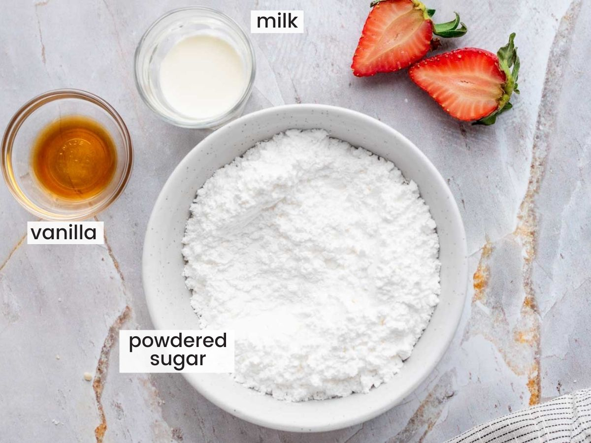 Ingredients needed to make glaze for the scones