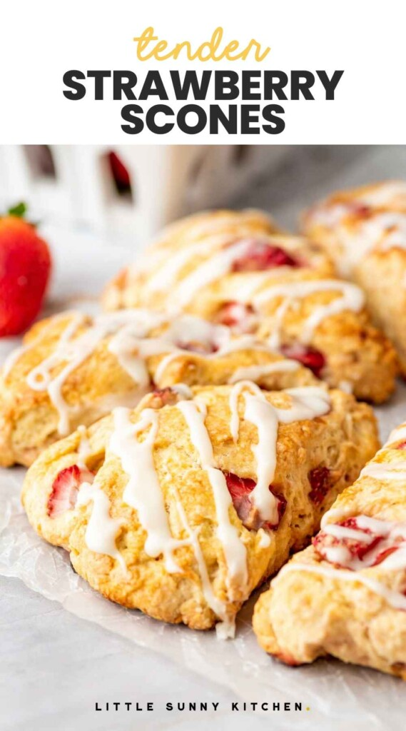 """Strawberry Scones with the drizzle, and overlay text that reads """"tender strawberry scones"""""""