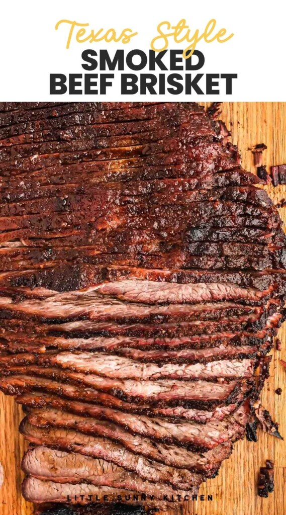 """Sliced smoked beef brisket with overlay text """"Texas style smoked beef brisket"""""""