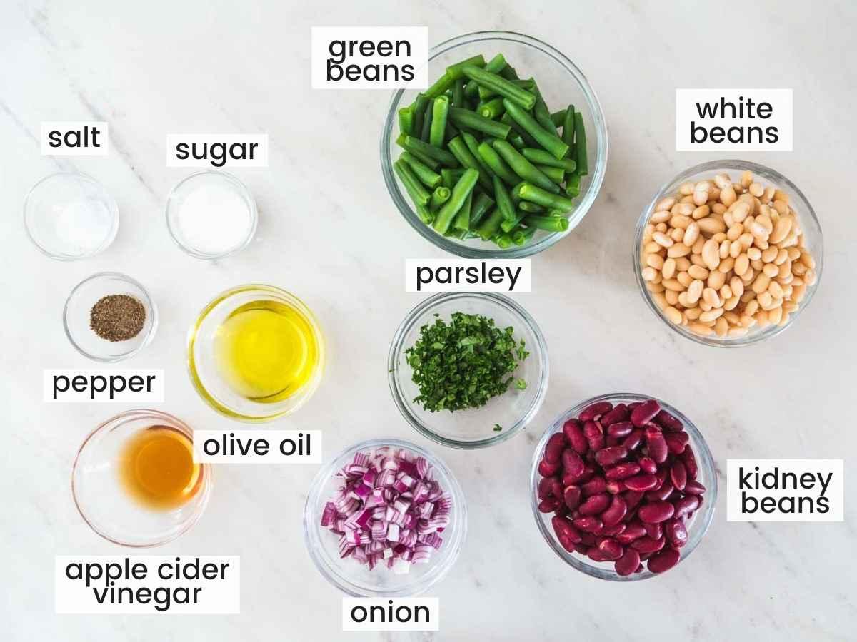 Ingredients needed to make three bean salad