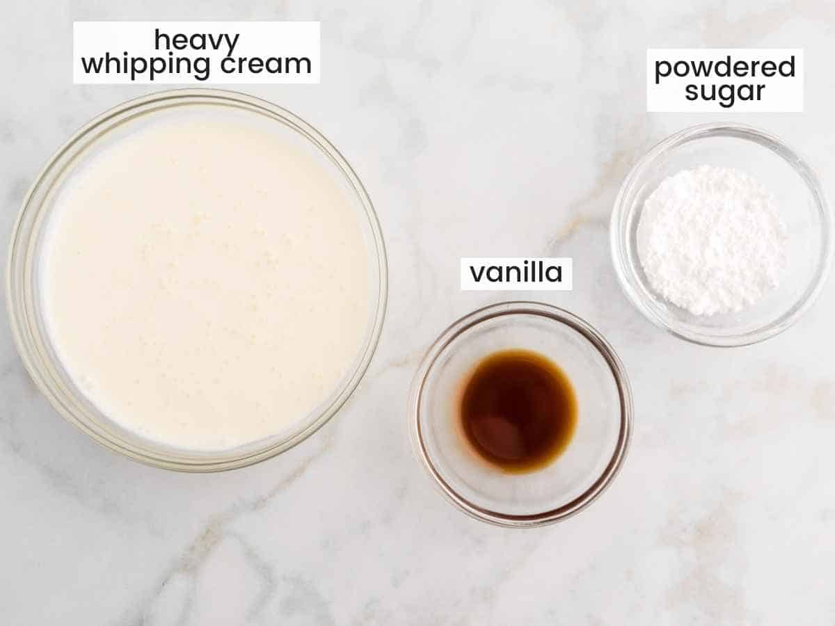 Ingredients needed to make a whipped topping for the cheesecake
