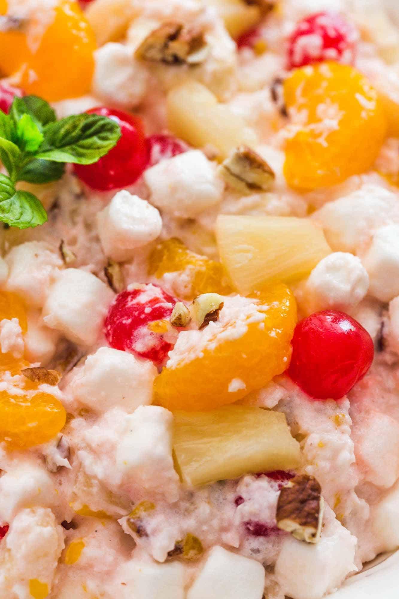 Close up shot of Ambrosia salad