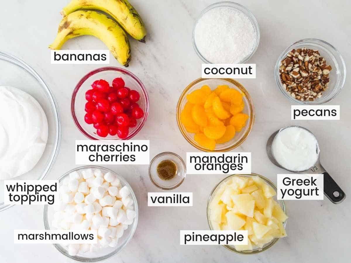 Ingredients needed to make Ambrosia salad
