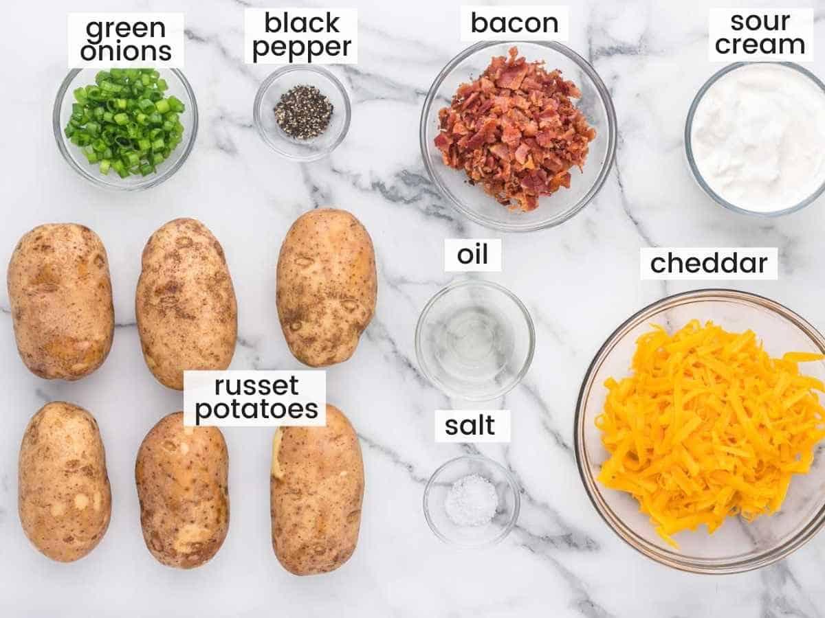 Ingredients needed to make baked potato skins