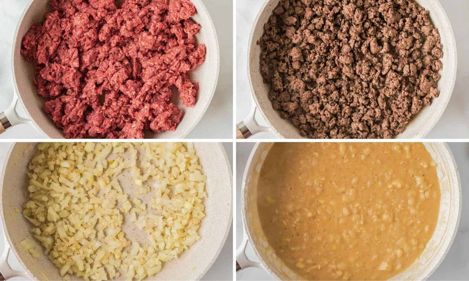 Collage with four images showing how to cook ground beef and saute the onion