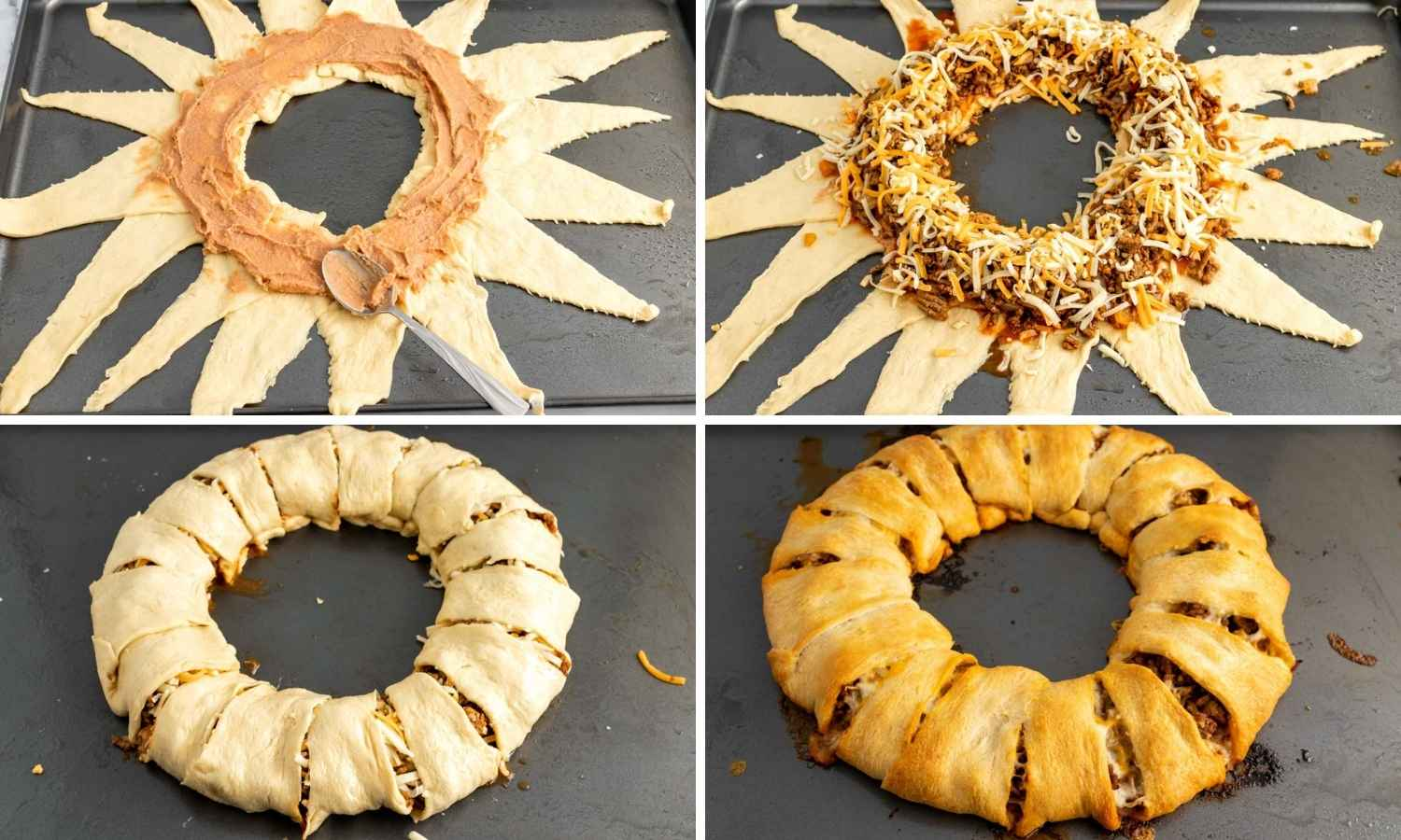 Collage of four images showing how to assemble a taco ring before baking