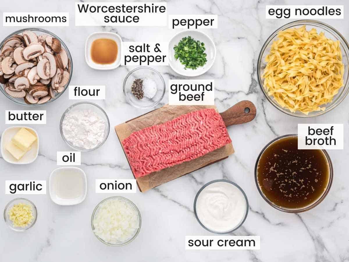 Ingredients needed to make ground beef stroganoff