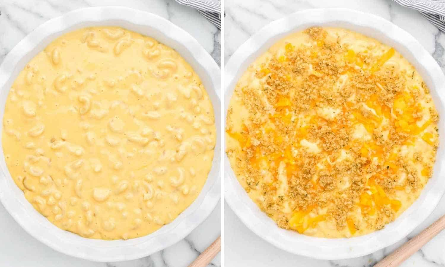 Collage of two images showing the mac and cheese in a casserole dish before baking