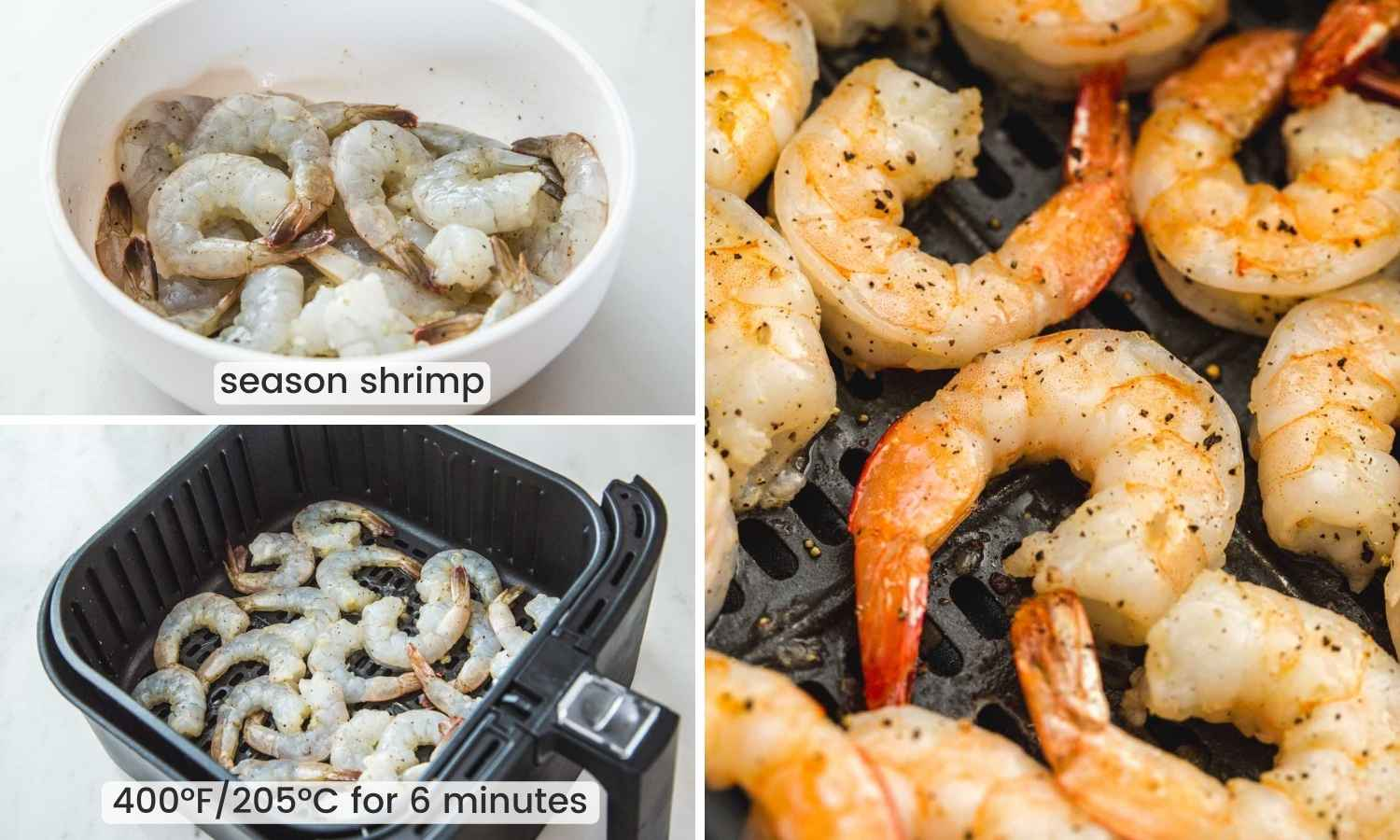 Collage with three images showing how to season and air fry shrimp