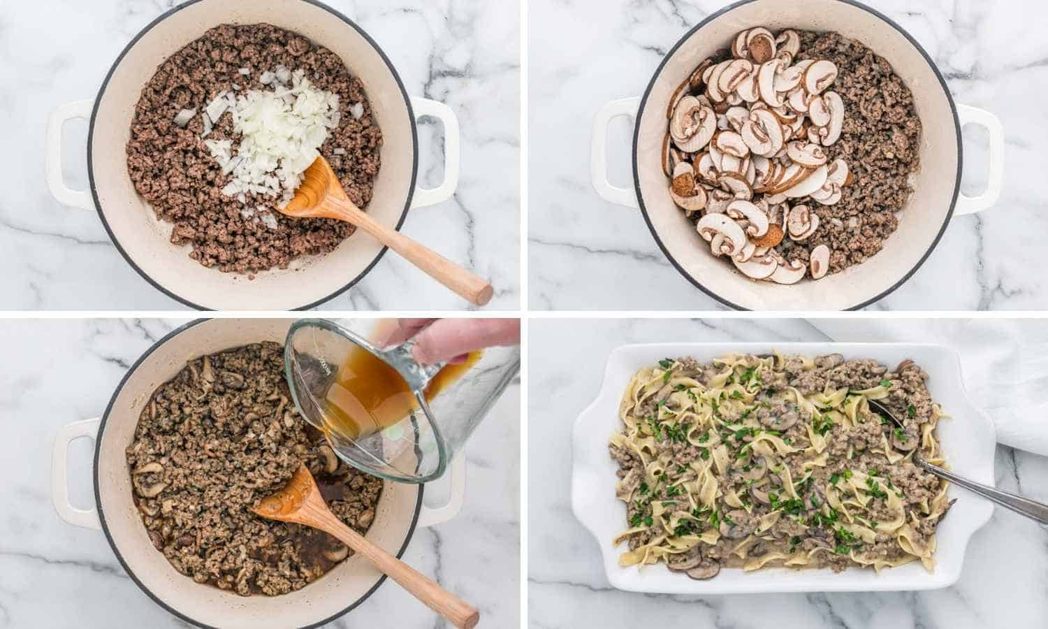 Collage of four images showing how to cook beef stroganoff