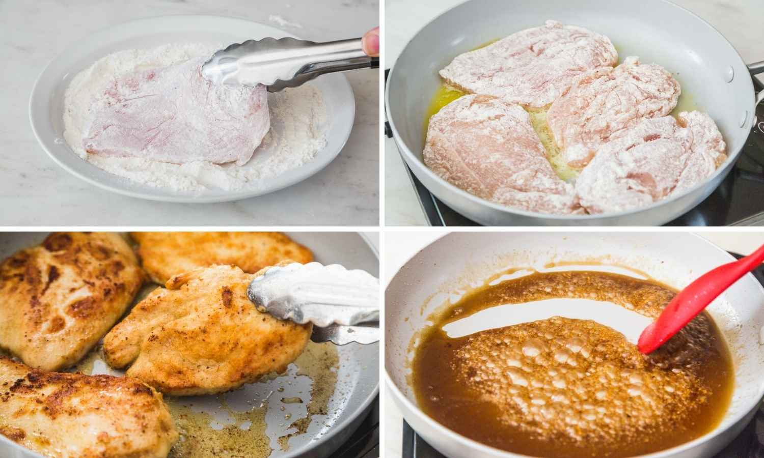 Collage of four images showing how to make honey garlic chicken