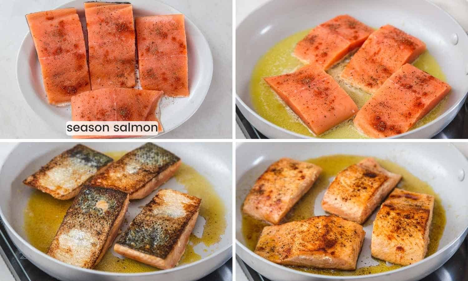 collage with four images showing how to season salmon and then sear it in a pan