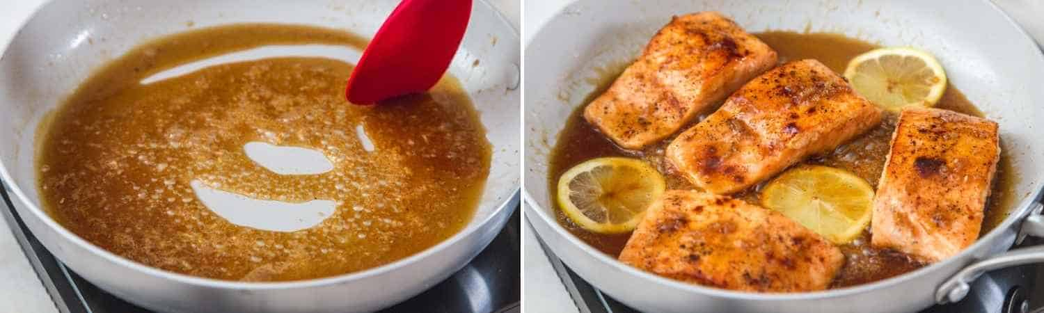 Two images showing how to make honey garlic glaze and add it to the seared salmon
