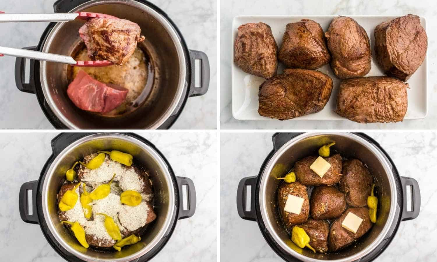 How to make How to Make Instant Pot Mississippi Pot Roast shown in a collage of four images