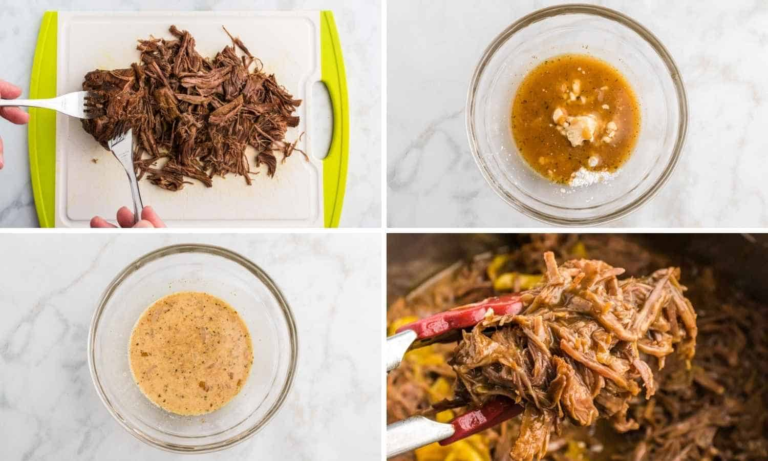 How to Shred beef for Instant Pot Mississippi Pot Roast shown in a collage of four images