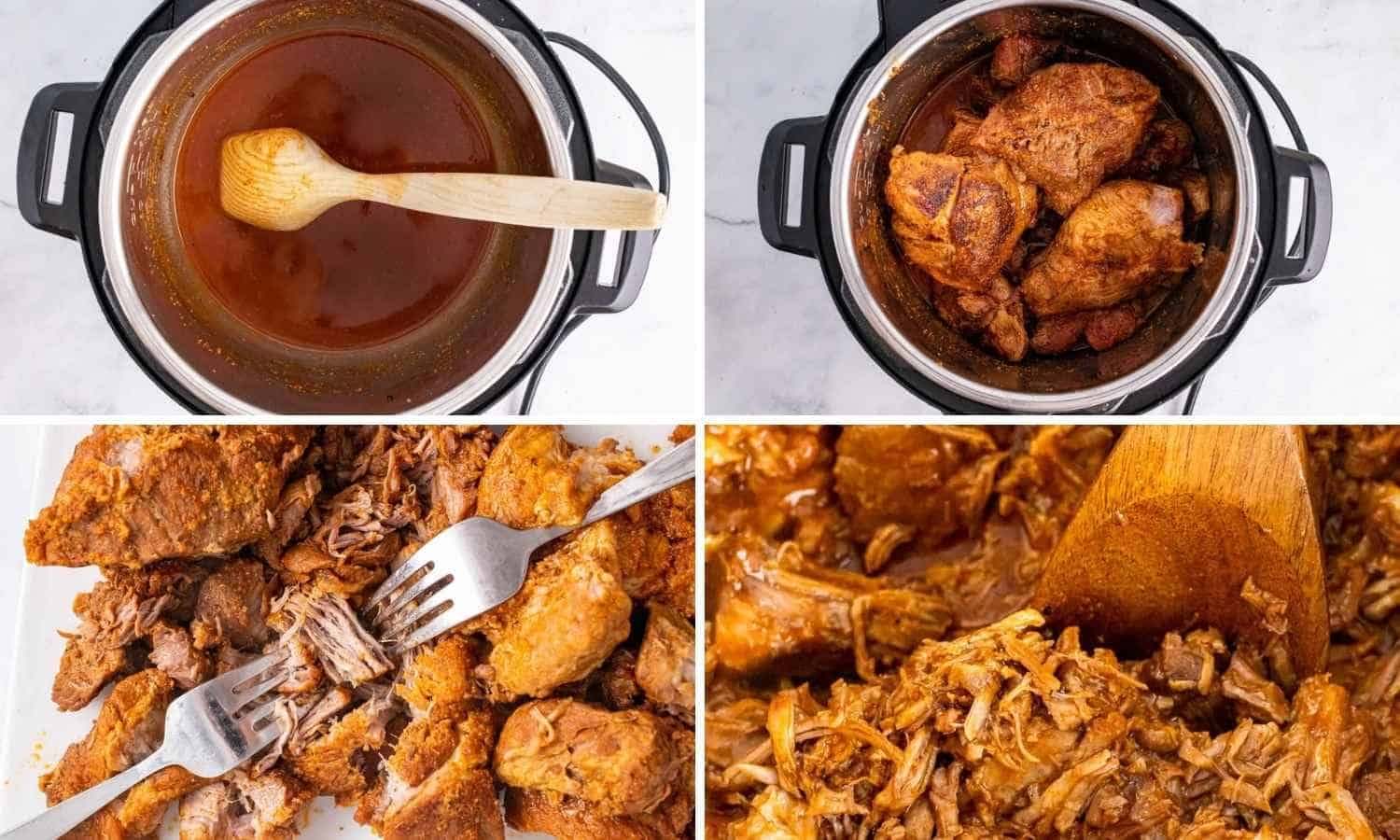 Collage of four images showing to deglaze the instant pot, pressure cook the pork and shred it with 2 forks
