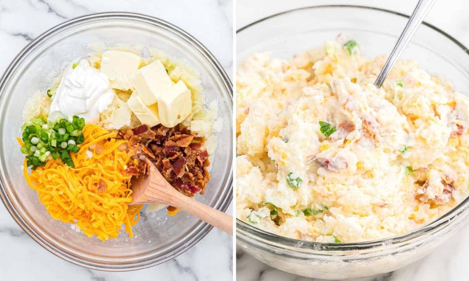Collage with two images showing how to make the potato filling with cheese, bacon, sour cream and green onion.