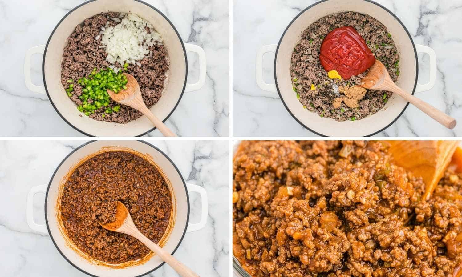 Collage with four images showing how to make sloppy joes