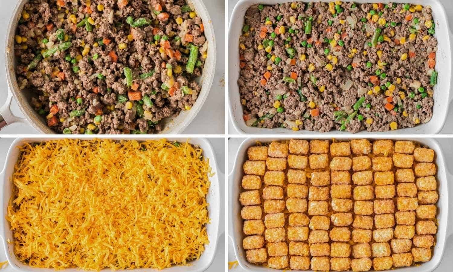 Collage with four images showing how to make the casserole filling and transfer to the casserole dish with cheese and tater tots