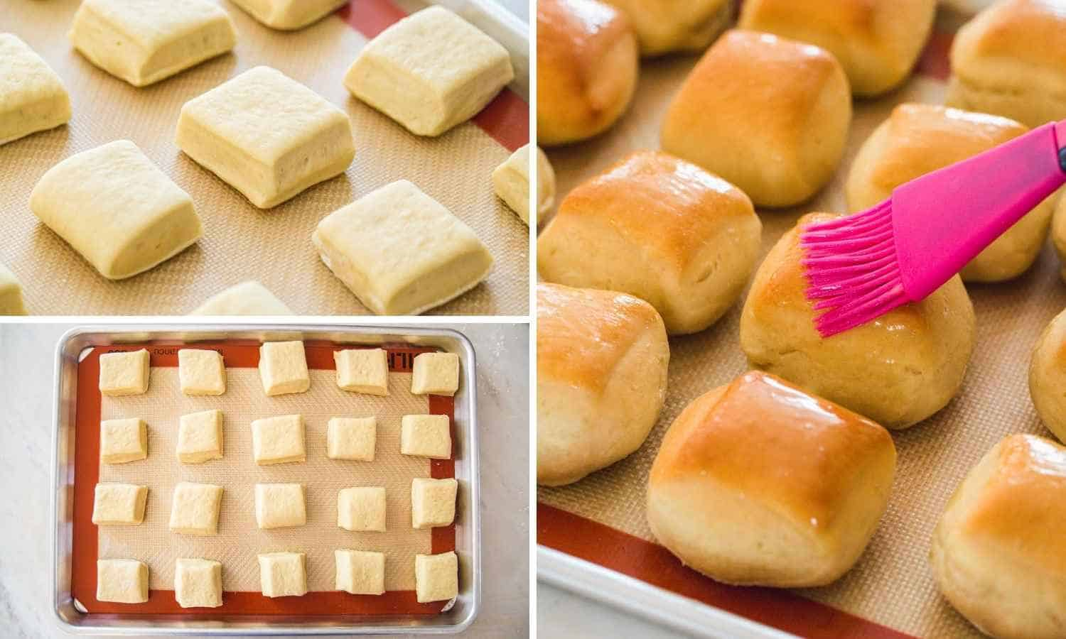 Collage with three images showing how to bake the prepared dough of Texas roadhouse rolls and brush with butter