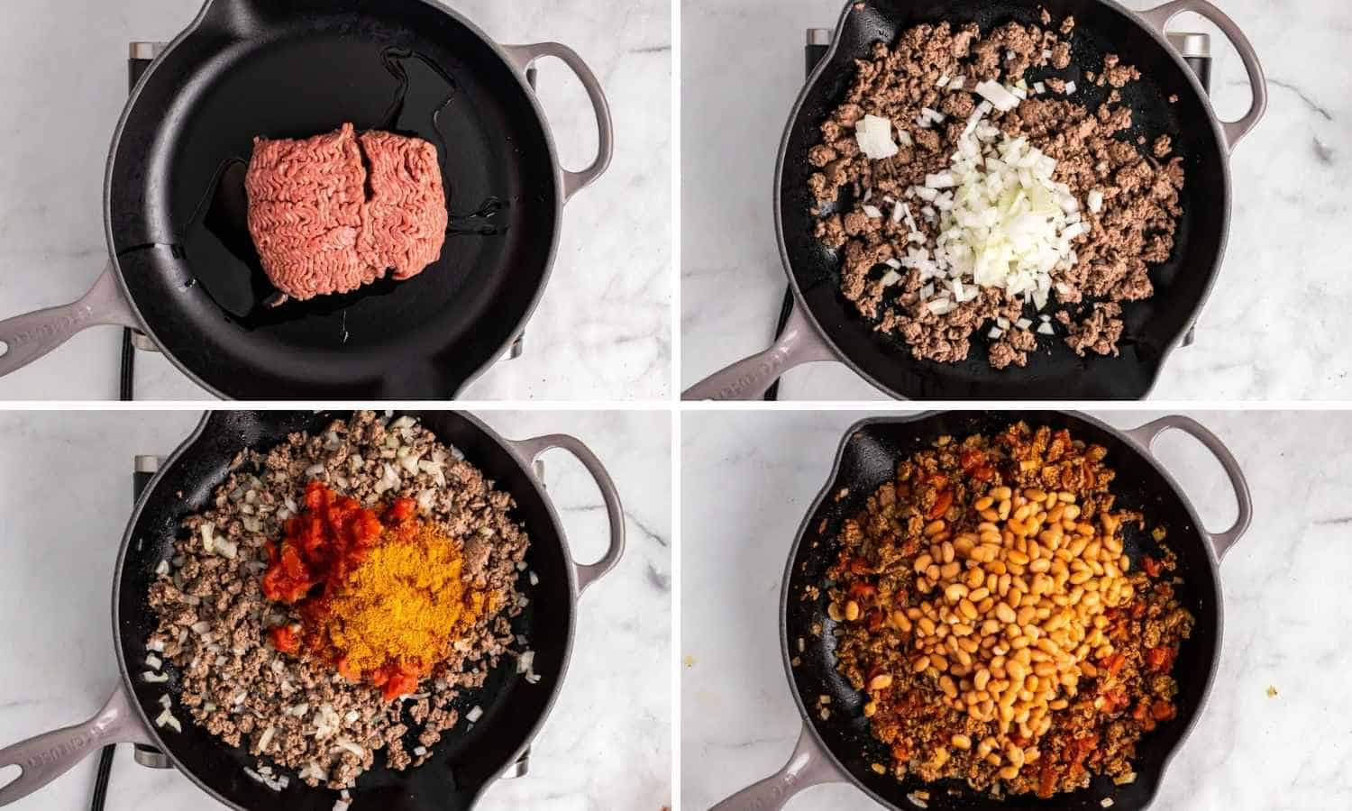 Collage of four images showing how to cook the beef with the spices and aromatics to make the taco beef mixture with pinto beans.
