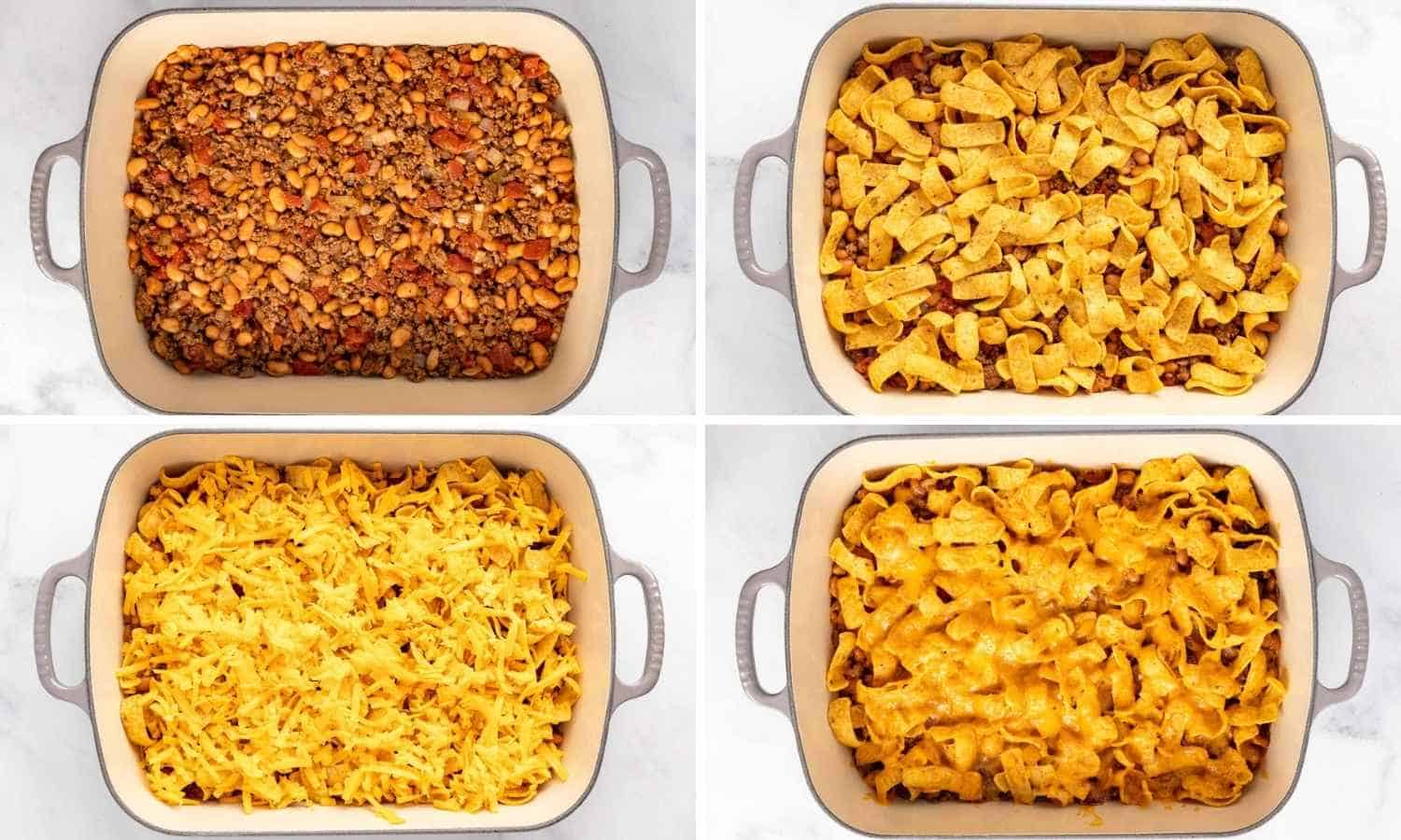 Collage of four images showing how to fill a casserole dish with taco meat, and top it with cheese and Frito chips.